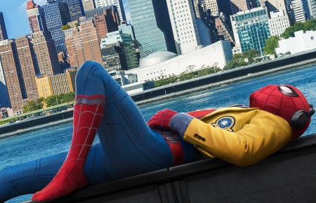Spiderman listening to music