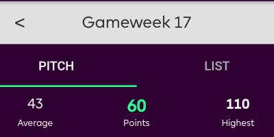 FPL GW17 points